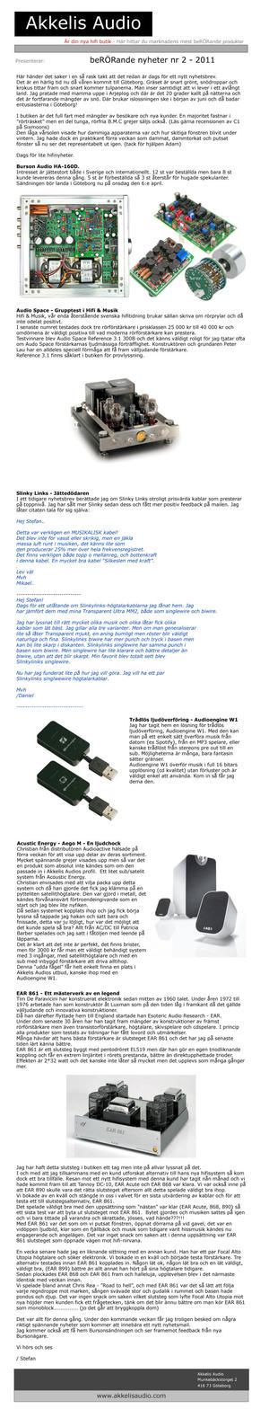beRÖRande nyheter nr 2 - 2011