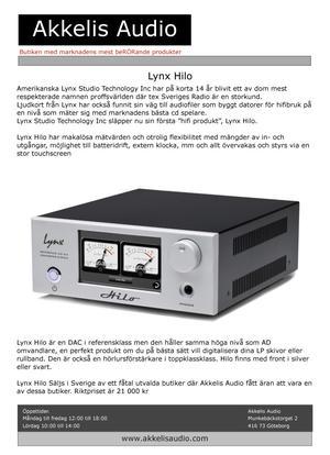 Lynx Hilo - DA/AD omvandlare