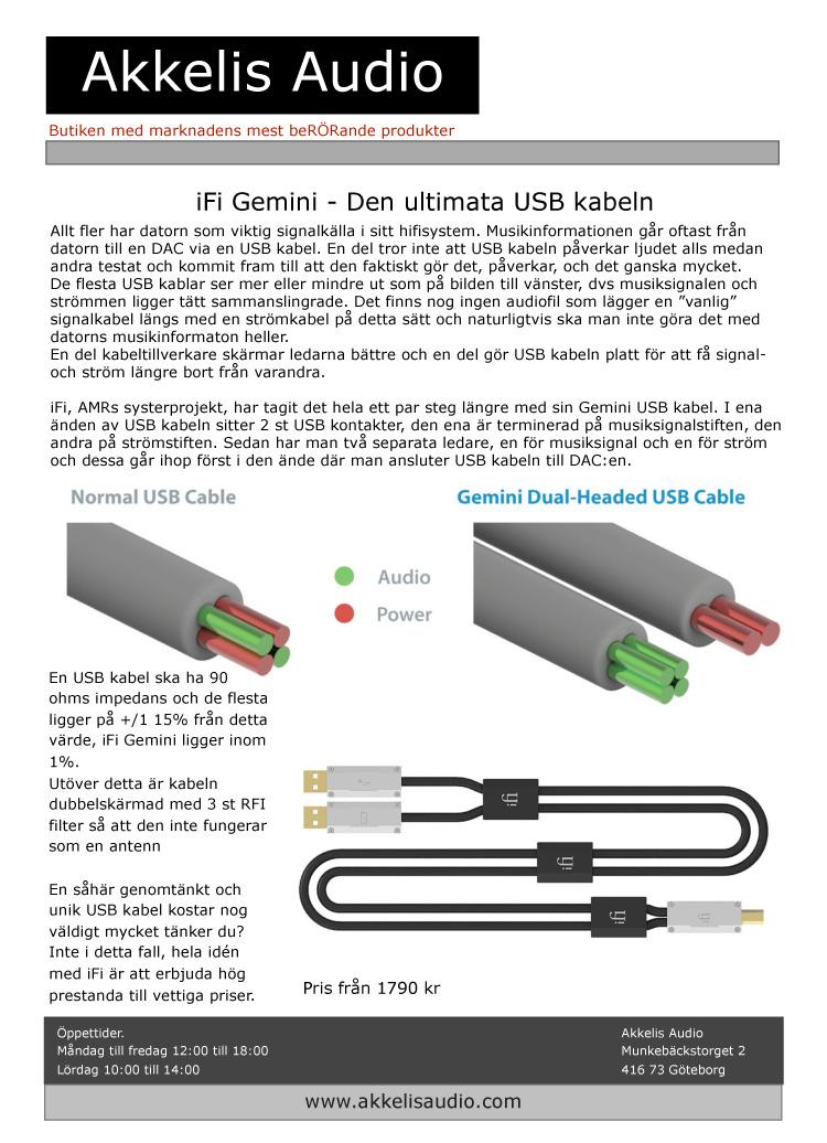 Ifi Gemini Usb Kabel 70 Cm Akkelis Audio